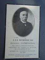 A LA MEMOIRE DE Georges CLEMENCEAU Décédé à Paris Le 24 Novembre 1929  Dans Sa 89° Année - Décès