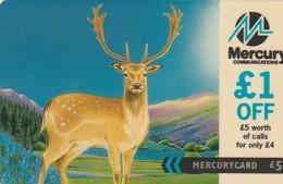 TARJETA TELEFONICA DE GRAN BRETAÑA, British Wildlife. Fallow Deer (£1 Off Promotion) 20MERF. MER512. (006) - Reino Unido