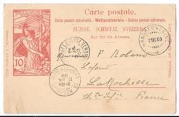 CARTE POSTALE ENTIER POSTAL..1900.. DE GRAND FONTAINE POUR LA FRANCE LA ROCHELLE. TBE SCAN.. - Postwaardestukken