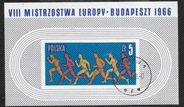 POLONIA - 8° CAMPIONATO ATLETICA LEGGERA BUDAPEST 1966 -  FOGLIETTO USATO -  (YVERT BF 45 - MICHEL BL 38) - Atletica