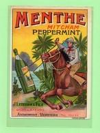 Etiquette Menthe, Mitcham, Peppermint, J. Letesson & Fils, Distillateurs, Cheval, Police Montée, 14x10.5 Cm - Otros