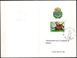 Bolivia 1986 CEFIBOL 1243T Tarjeta Tricentenario De La Fundación De Trinidad. Beniano Montando Un Buey. - Bolivie