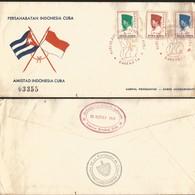 J) 1965 INDONESIA, CONEFO, FLAGS, INDOPERSAHABITAN INDONESIA-CARIBE, INDONESIA CARIBE FRIENDSHIP MUTLIPLE STAMPS, FDC - Indonesia