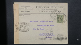 Lettre A En Tete Ernest Floret Evian Les Bains Tarif Frontalier Pour Lausanne Suisse 1918 Avec Censure - Guerre De 1914-18