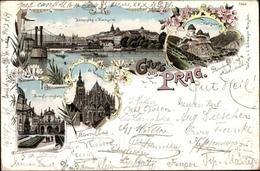 Lithographie Praha Prag, Kettensteg Und Kleinseite, St. Veitsdom, Kreuzherrenplatz, Karlstein - Czech Republic