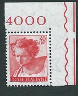 Italia 1961; Michelangiolesca: Lire 40, Profeta Daniele; Francobollo D' Angolo.. - 1961-70: Mint/hinged