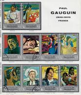 YEMEN REPUBBLICA ARABA    1967 - QUADRI  DI GAUGUIN  - USATI ATTACCATI SU CARTONCINO - Yemen