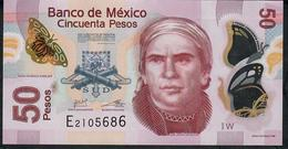 MEXICO P123Ah ?  50 PESOS 18.1.2017   #W   VF Folds NO P.h. ! - México
