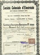 Congo Belge: Société Coloniale D'Électricité - Certificat D'Inscription - Afrique