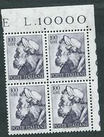 Italia 1961; Michelangiolesca: Lire 100, Profeta Ezechiele; Quartina D' Angolo. - 1961-70:  Nuovi