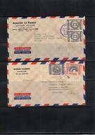 Costa Rica 2 Interesting Airmail Letters - Costa Rica