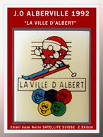 """SUPER PIN'S OLYMPIQUE ALBERVILLE 92 : Le Sympa PIN'S Humoristique SUISSE """"LA VILLE D'ALBERT"""" émail Base Noire + Vernis - Jeux Olympiques"""