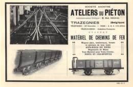 1927 - TRAZEGNIES - S.A. Ateliers Du Pièton - Dim. 1/2 A4 - Publicités