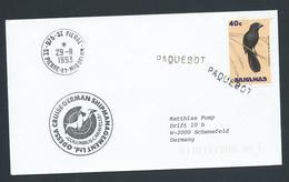 St Pierre & Miquelon 1993 Paquebot Cover To Germany Ship Columbus Caravelle Bahamas Bird Adhesive - St.Pierre & Miquelon