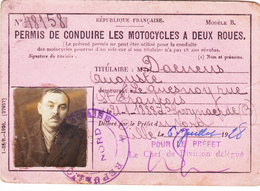 Permis De Conduire Les Motocycles à Deux Roues - Oude Documenten