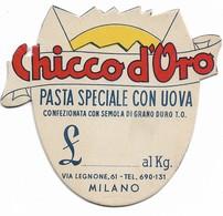 """PUBBLICITA' """"CHICCO D'ORO"""" PASTA SPECIALE CON UOVA MILANO  SEGNAPREZZO CM.9X8,7-2SCANNER-2-28902-901 - Pubblicitari"""