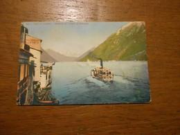 Cpa Lago Di Lugano Gandria Ed I Monti Porlezza Bateau - TI Ticino