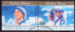 PAPUA NEW GUINEA 1998 SG #830-31 Compl.set In Horiz.pair Used Mother Teresa - Papouasie-Nouvelle-Guinée