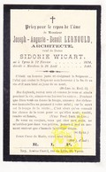 DP Architect Joseph Aug. Lernould ° Ieper 1834 † Merkem Houthulst 1901 X Sidonie Wicart - Devotieprenten