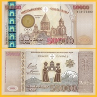 Armenia 50000 (50,000) Dram P-48 2001 Commemorative UNC Banknote - Armenia