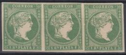 1857-244 CUBA SPAIN ANTILLES. 1857. ISABEL II. Ed.8. 1r VERDE SIN FILIGRANA. TIRA DE 3 NUEVA. - Préphilatélie