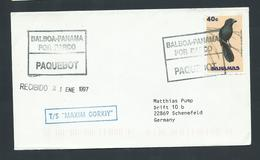Panama 1997 Paquebot Cover To Germany Ship Maxim Gorky Bahamas 40c Bird Adhesive - Panama