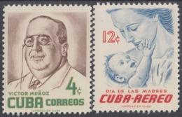 1956-347 CUBA REPUBLICA. 1956. Ed.654-55. MNH. DIA DE LAS MADRES, MOTHER DAY, VICTOR MUÑOZ. - Cuba