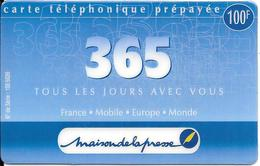 CARTE-PREPAYEE-365--100F-Exp 31/03/2001-R°Logo Maison De La Presse -GRATTE- TBE-RARE - France