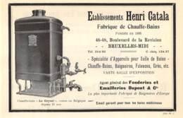1927 - BRUXELLES-MIDI - Rue De La Révision - Fabrique De Chauffe-Bains - Henri CATALA - Dim. 1/2 A4 - Reclame