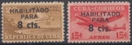 1961.129 CUBA. 1961. Ed.884-85. MNH. CORREO AEREO HABILITADO PARA 8c, AVION, AIRPLANE. - Cuba