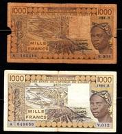 West African States - A (Cote D'Ivoire) Lot 2 Banknotes 1000 Francs 1986A And 1000 Francs 1984A - États D'Afrique De L'Ouest