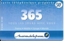 CARTE-PREPAYEE-365--50F-Exp 31/03/2001-R°Logo Maison De La Presse -GRATTE- TBE-RARE - France