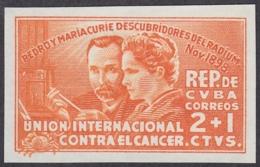 1938-53 CUBA 1938. Ed.2. CURIE RADIO MEDICINE SEMIPOSTAL ABNC CARDBOAD PROOF. - Kuba