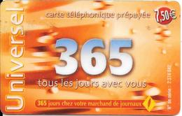 -CARTE-PREPAYEE-365-7,5€- 31/12/2003-R° Logo-365jours Rge-N° Sur Fond Gris Foncé-Code 3x4 N°-GRATTEE-TBE- - France