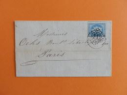 EMPIRE LAURE 29 SUR LETTRE DE RENNES A PARIS DU 21 JUIN 1869 (GROS CHIFFRE 3112) - 1849-1876: Classic Period
