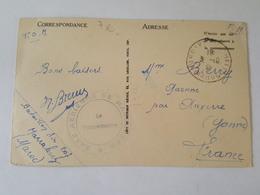 Marrakech Guéliz 1939 Franchise Militaire Cachet Base Aérienne, Bataillon Air 207 Cachet Poste Rurale Automobile Auxerre - Postmark Collection (Covers)