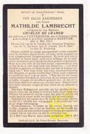 DP Mathilde Lambrecht ° Dentergem 1850 † Beernem 1913 X Charles De Cramer - Images Religieuses