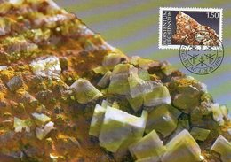 Liechtenstein   1989 MiNr. 983   Maximumkarte ;  Mineralien: Calcit - Geologie
