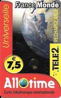 CARTE PREPAYEE-7.5€-TELE2-ALLOTIME/RECHARGEABLE-FRANCE-MONDE-R° MAT-TB E - France