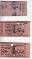 3 Tickets Du MÉTROPOLITAIN - Transportation Tickets