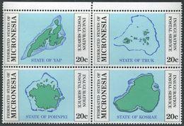 Micronesia 1-4a Block,MNH.Michel 1-4. Postal Service 1984.Maps:Yak,Truk,Pohnpei, - Geography