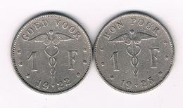 1 FRANC 1922 + 1923 BELGIE /3435/ - 07. 1 Franc