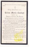 DP Helena M. Landuyt / De Prest 20j. ° Baarle Drongen Gent 1885 † 1906 - Images Religieuses