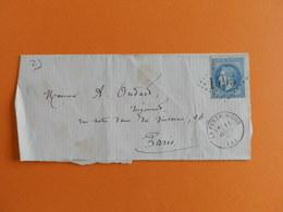 EMPIRE LAURE 29 SUR DEVANT DE LETTRE DE LA FERTE MILON A PARIS DU 11 AVRIL 1870 (GROS CHIFFRE 1495) - 1849-1876: Période Classique