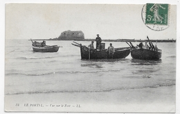LE PORTEL EN 1910 - N° 34 - VUE SUR LE FORT AVEC BARQUES ET PERSONNAGES - CPA VOYAGEE - Le Portel