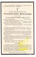 DP EZ Marie Jeanne Luycx - Zr. M. Joseph ° Leerbeek Gooik 1905 † Zwartzustersklooster Brussel - Images Religieuses