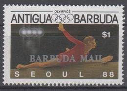 BARBUDA 1988 OLYMPIC GAMES WOMAN GYMNASTICS BALANCE BEAM OVERPRINT - Gymnastik