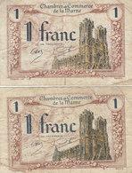 Marne 2 Billets 1 F Remboursable Jusqu'au 1er Janvier 1926 - Chambre De Commerce