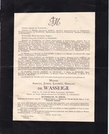 40-45 Wépion Fooz Bourgmestre Armand WASSEIGE Mort Patrie Camp De NEUENGAMME Entre 18 Décembre 1944 Et 3 Janvier 1945 - Décès