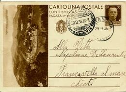 ORTANOVA / Italia - 1936 , BPK  Portofino , Cartolina Postale Con Risposta   - Nach Francavilla / Chile - 1900-44 Victor Emmanuel III